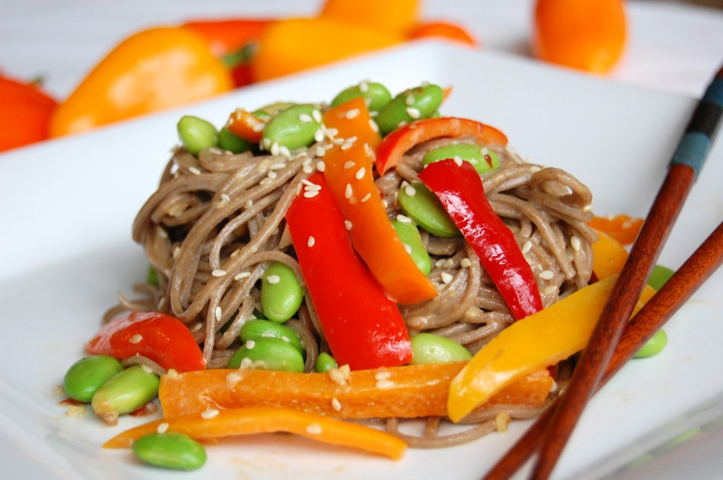 Soba Noodles with Edamame, Peppers, and Spicy Peanut Sauce