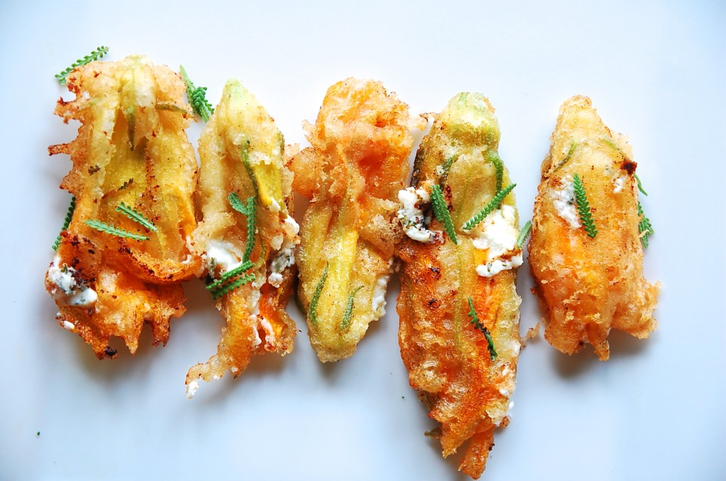 lavender honey and goat cheese stuffed zucchini blossoms