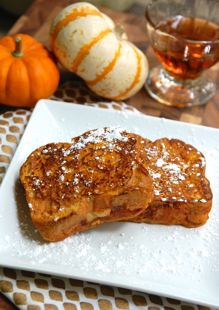 Pumpkin french toast with bacon maple syrup
