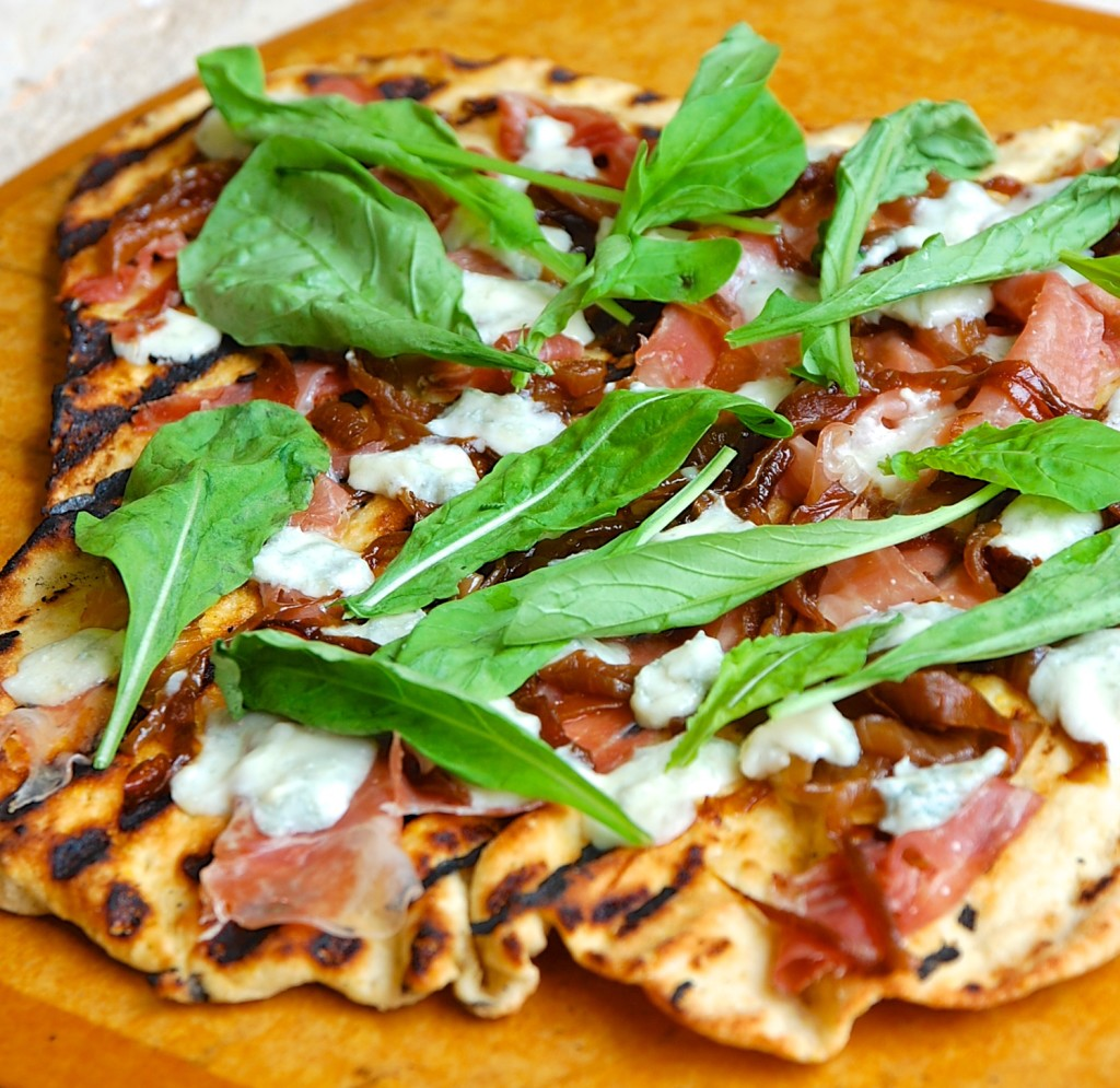 caramelized onion, prosciutto and gorgonzola grilled flatbread