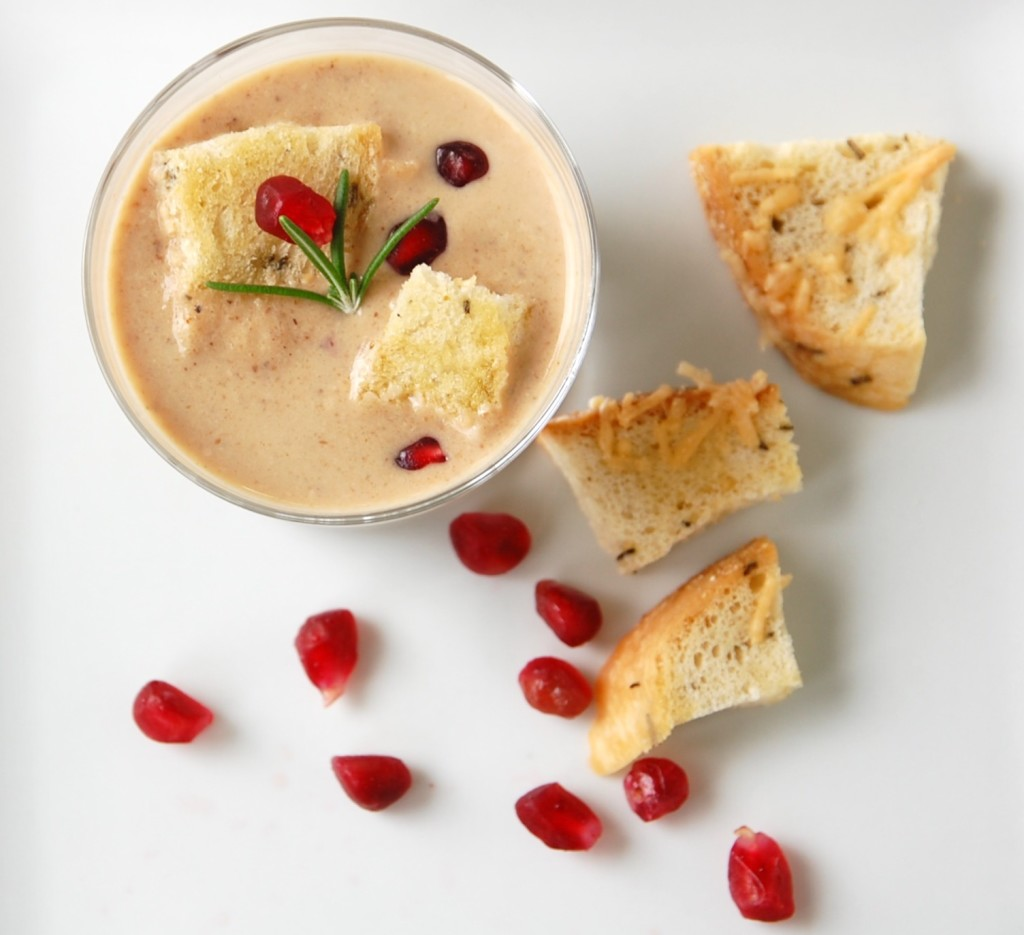Roasted Cauliflower Soup with Truffled Croutons + Pomegranate